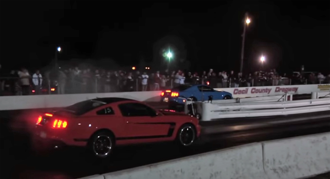 Mustang GT takes on Boss 302 in a very scientific drag race