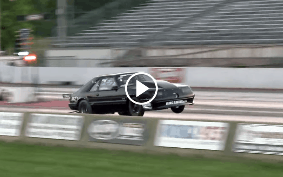 turbo fox mustang hits mph   wheelie launch coolfords