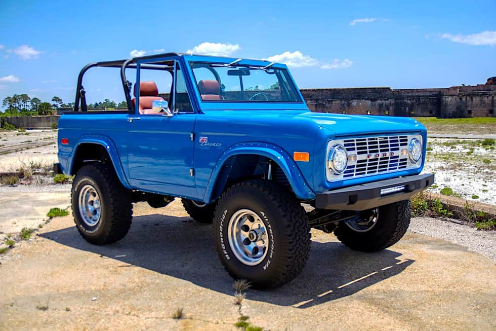 "76′ Classic Ford Bronco restomod is what ""sky blue"" dreams are made of"
