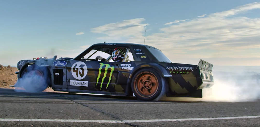 Ken Block's Climbkhana: Pikes Peak featuring a Twin-turbo 1400 HP 1965 Mustang!