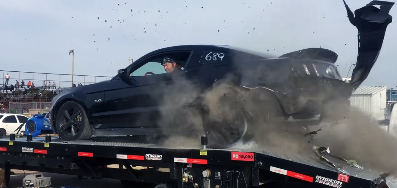 Watch a Mustang shred itself on the dyno
