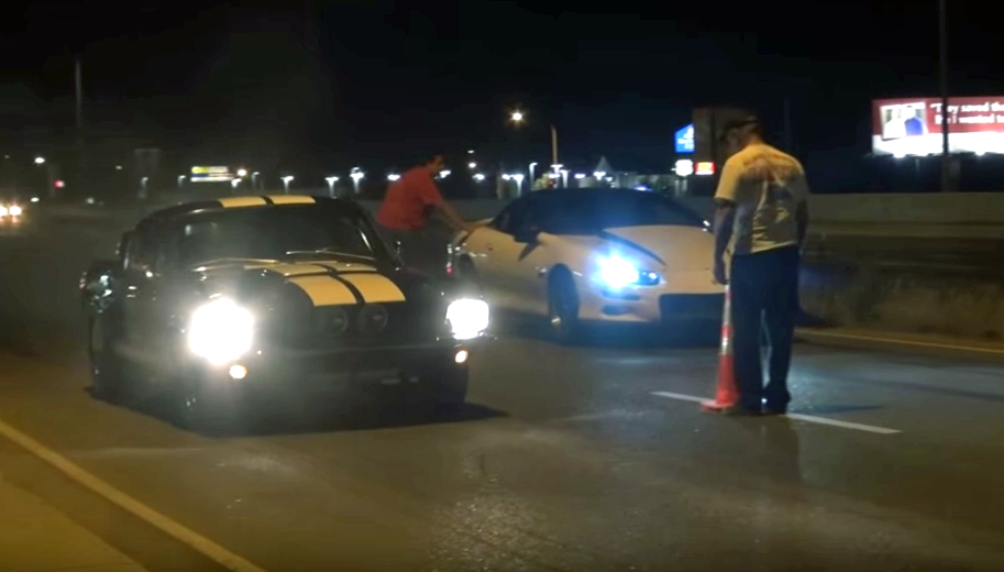 Camaro vs. Mustang street race ends badly