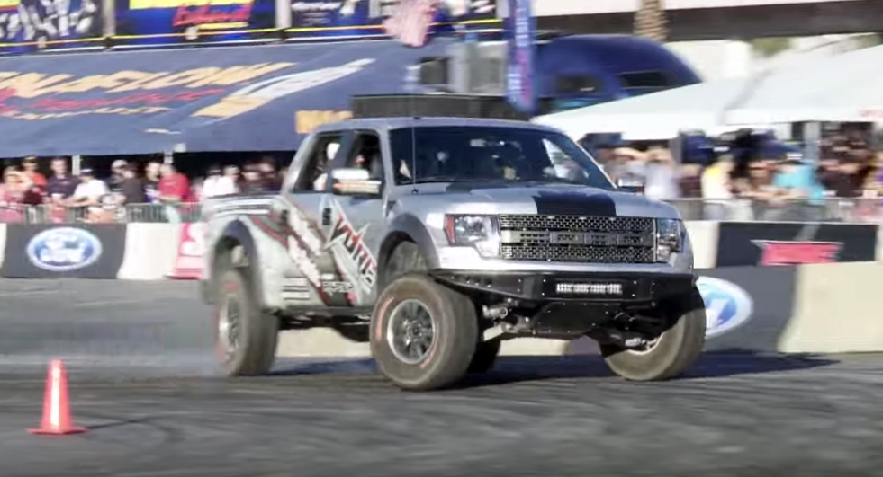 Brian Deegan smokes the SEMA finale in a Ford Raptor