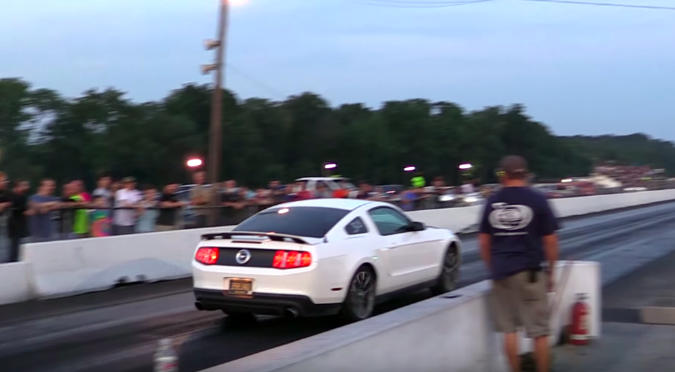 Confused Mustang launches in reverse, still wins