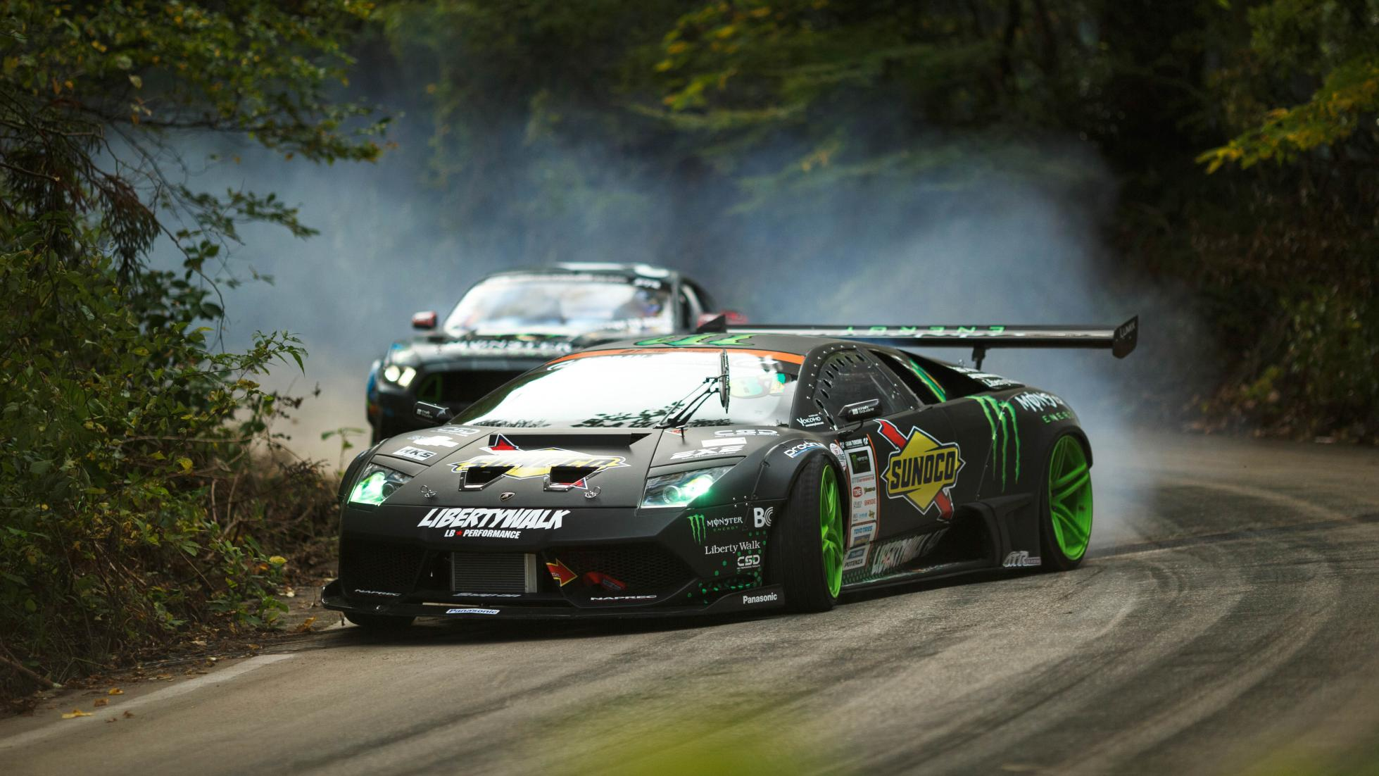 Vaughn Gittin's Mustang RTR faces insane Lamborghini in #BATTLEDRIFT