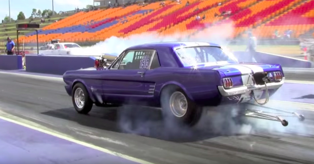 Blown 1966 Mustang tears up the strip