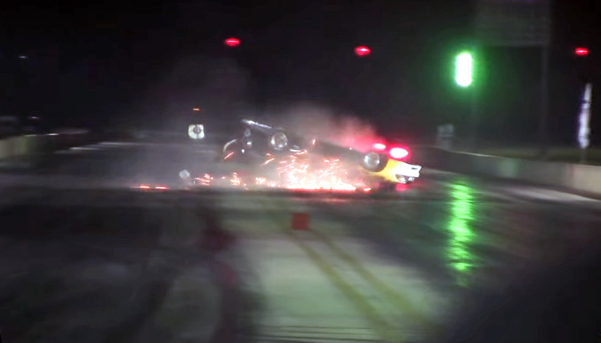 Flaming Mustang crashes, nearly burns at the strip