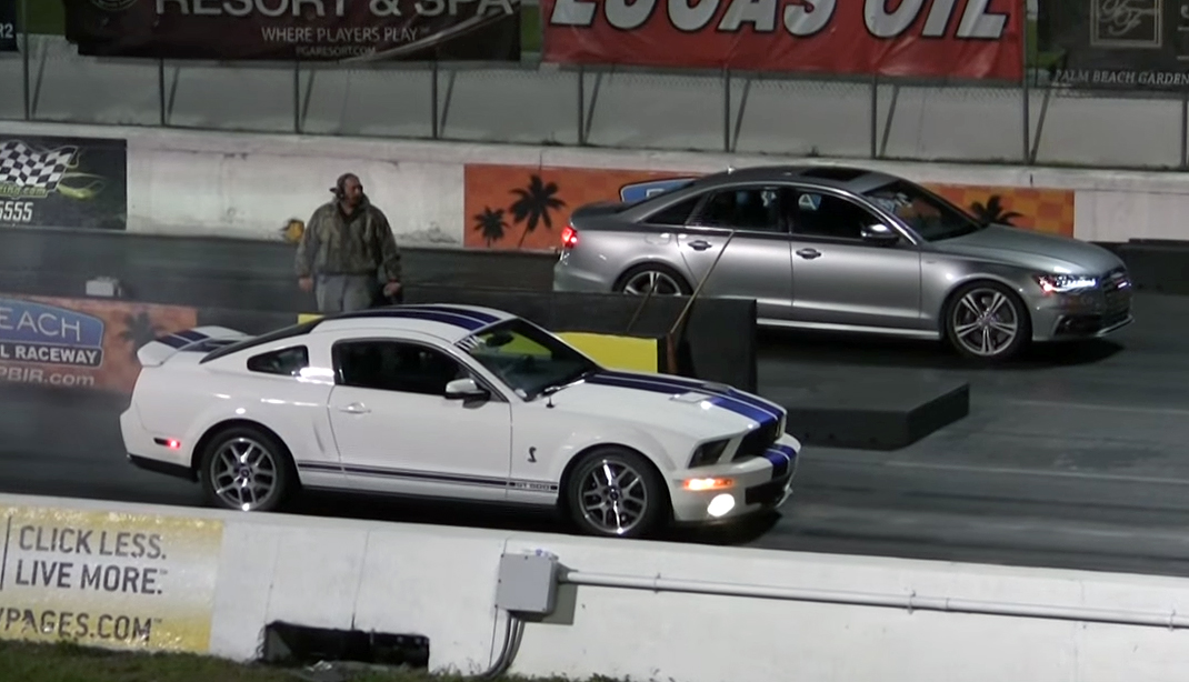 Strip-scorching Mustang GT500 takes on an unlikely rival