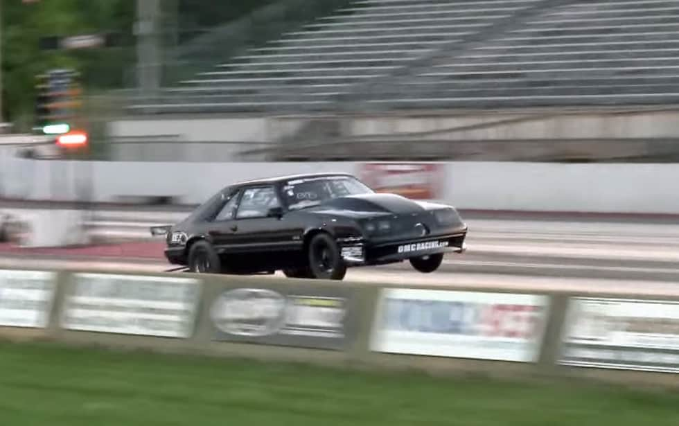 Turbo Fox Mustang hits 200mph from a wheelie launch
